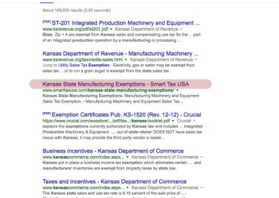 Kansas State Manufacturing Exemptions