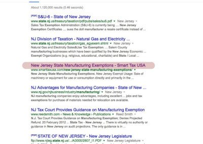 New Jersey State Manufacturing Exemptions